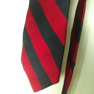 Claybrooke Accessories - Red and navy striped silk tie